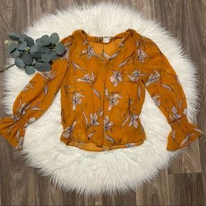A New Day Floral Print Bell Sleeve V-Neck Blouse